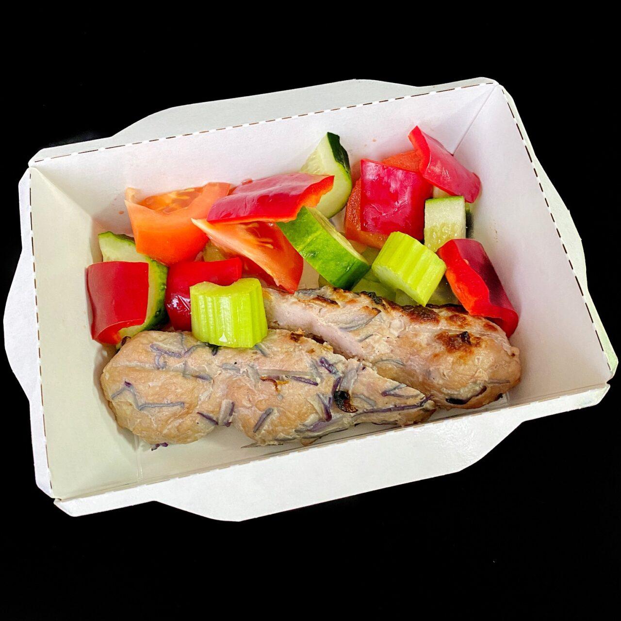 Кебаб из свиной вырезки с овощами